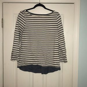 Loft Striped Sweater with Chambray Bottom